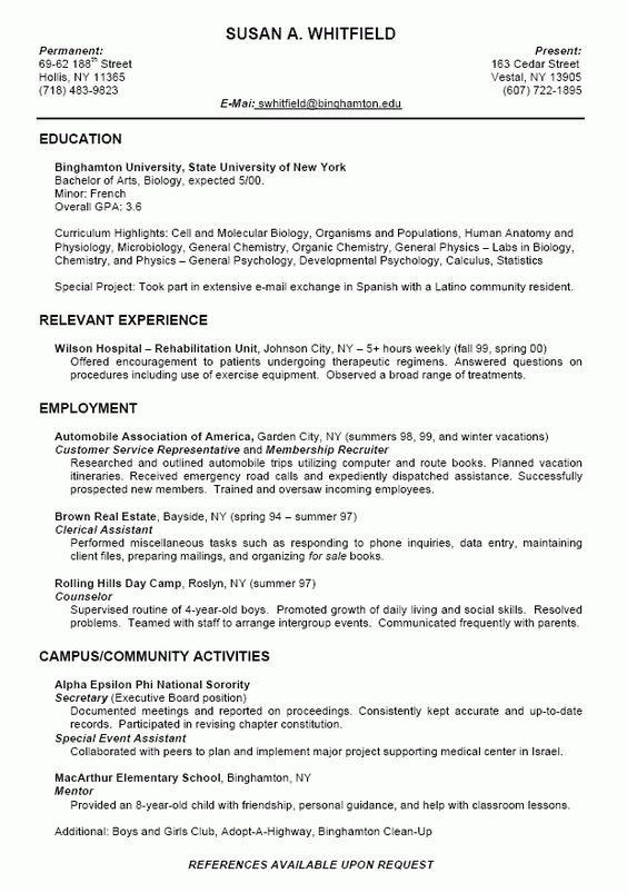 Resume Template For College Students -    wwwresumecareer - my perfect resume login