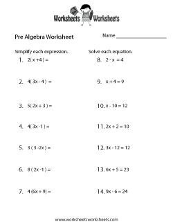 Radical worksheets Pre Algebra Problems For  th Graders