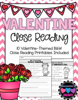 Close Reading Comprehension Printables Valentines Day  Reading