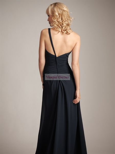 Navy Blue Chiffon One Shoulder Bridesmaid Dresses A-Line Prom Dresses