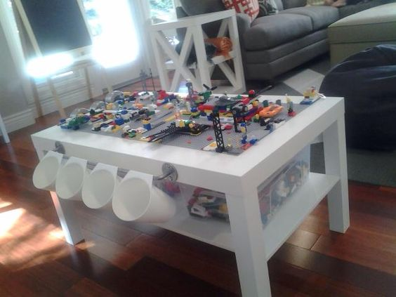 Diy lego table using ikea lack coffee table kids for Base de table ikea