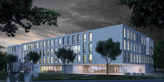3D-Visualisierung Architekturwettbewerb Nachtansicht http://www.link3d.de