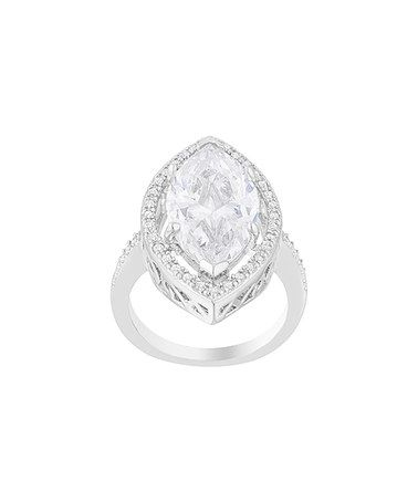 Look what I found on #zulily! Cubic Zirconia & Silvertone Pave-Set Halo Ring…
