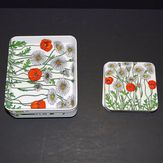 Vintage Lot of 6 Mebel Melamine Appetizer Trays 6 Matching Coasters Italy Floral
