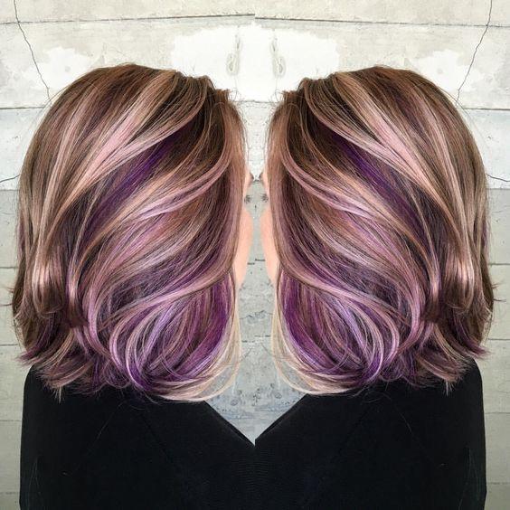 Purple peekaboo hair color