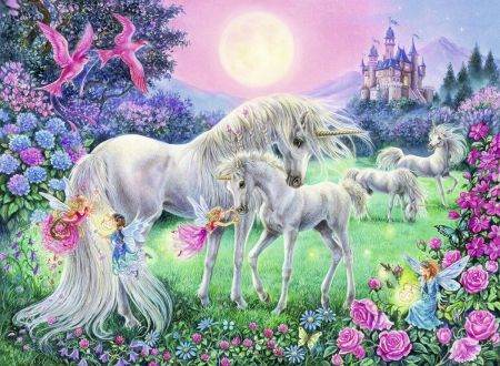 The Magical World of Unicorns - horses, fantasy, castle, artwork, painting