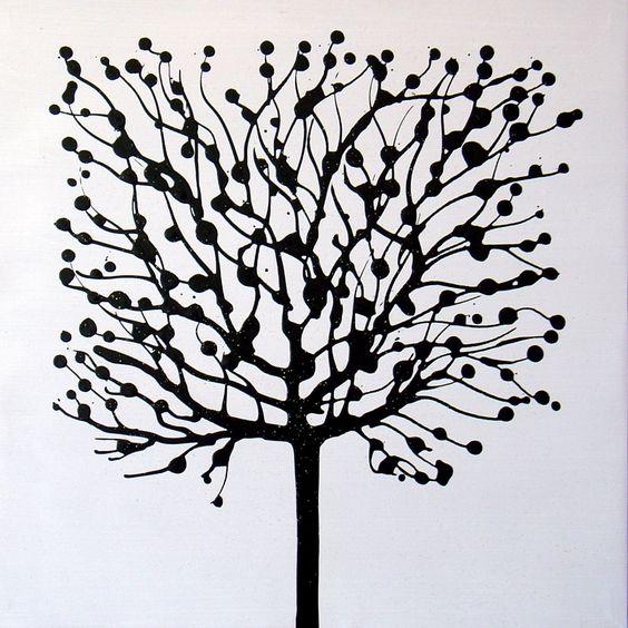 Arbre noir fond blanc peinture artistes beaux tableaux - Peintre tableau noir ...