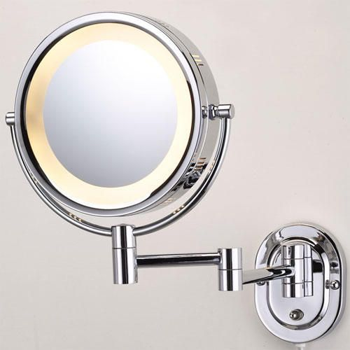 Halo Lighted Wall Mounted Double Sided Mirror In Chrome In Plug In Signature Hardwar In 2020 Wall Mounted Makeup Mirror Makeup Mirror With Lights Wall Mounted Mirror