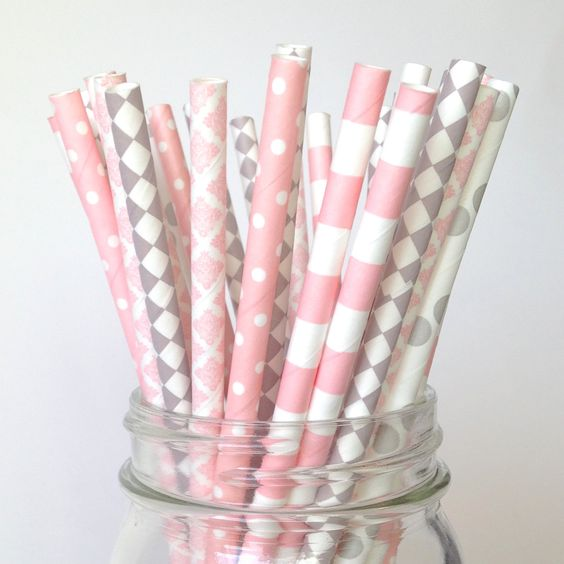 Pink Gray Straws Pink Gray baby shower straws Pink Grey Party decor Pink Gray Nursery Girl Baby Shower Gray Elephant Party (3.99 USD) by Twigsandtwirlsllc