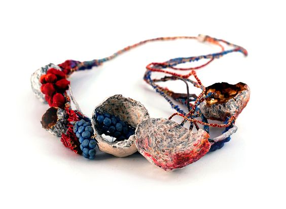 Akis Goumas Necklace: Fresco anulare, 2015 Silver, copper, gold leaf, textiles, pigments From series: Layers upon layers: