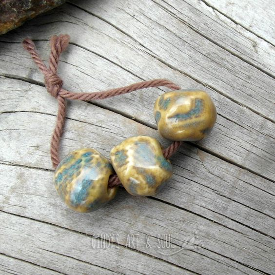 Turquoise Amber Ceramic Beads Set Flower Focal