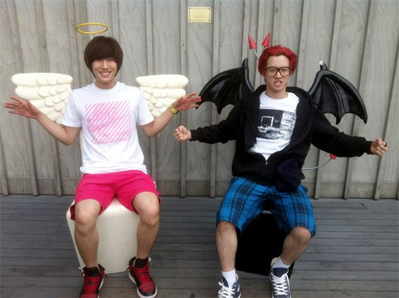 BIG STAR's FeelDog and Sunghak pose as an angel and devil