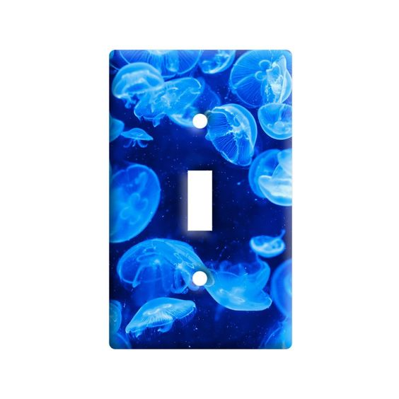 Plastic Wall Light Covers : Jellyfish - Blue Jelly Fish Ocean Underwater - Plastic Wall Decor Toggle Light Switch Plate ...