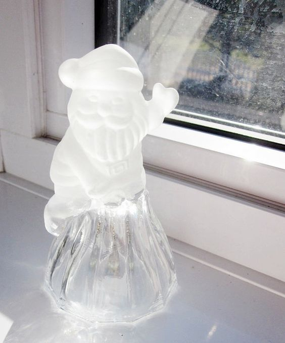 Vintage Glass Christmas Santa Bell by Latrouvaille on Etsy
