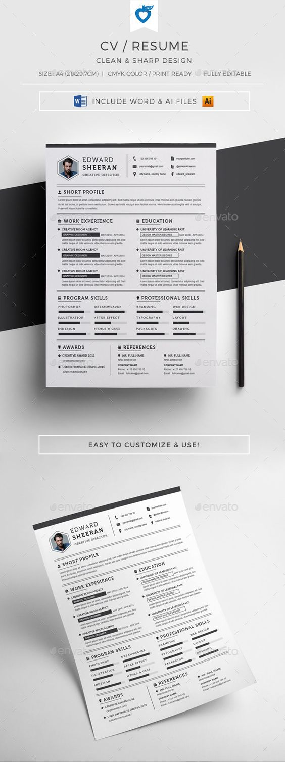 resume design design resume template and cv design