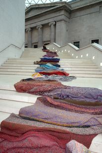 germaine koh, knitwork. unravelled used garments re-knit into a growing object. presented at british museum 2002