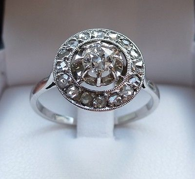 eBay | Bague ancienne ART-DECO 1930 OR 18K Platine pavée DIAMANTS ring gold 18k diamond