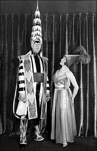 William Van Alen (dressed as the Chrysler Building) with a fellow party guest at the 1931 Beaux-Arts Architects Ball.