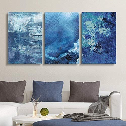 3 Panel Abstract Blue Artworks Home Art X 3 Panels Blue Canvas Art Blue Abstract Painting Blue Artwork