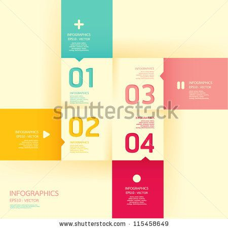 Modern   soft color Design template  / can be used for infographics / numbered banners / horizontal cutout lines / graphic or website layout...