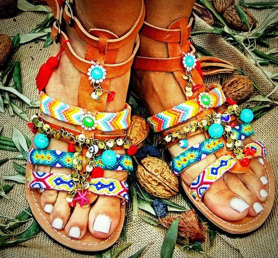 Women Handmade Ancient Greek Leather Sandals Ladies Summer
