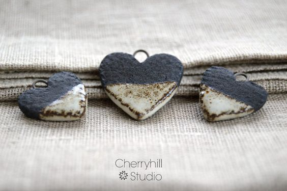 Heart Charm Necklace & Earring Components, Black Clay Hearts, Jewellery…
