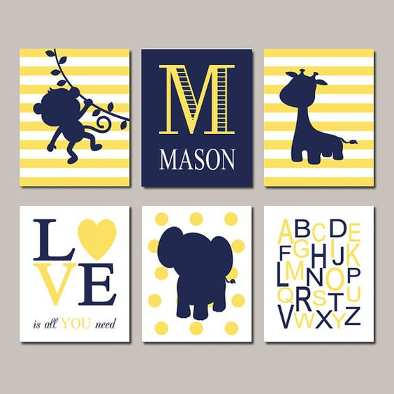 Jungle Nursery Navy Yellow Nursery Decor Baby Boy Nursery Decor Monkey Elephant Giraffe Monogram Set of 6 Prints Baby Jungle Animals