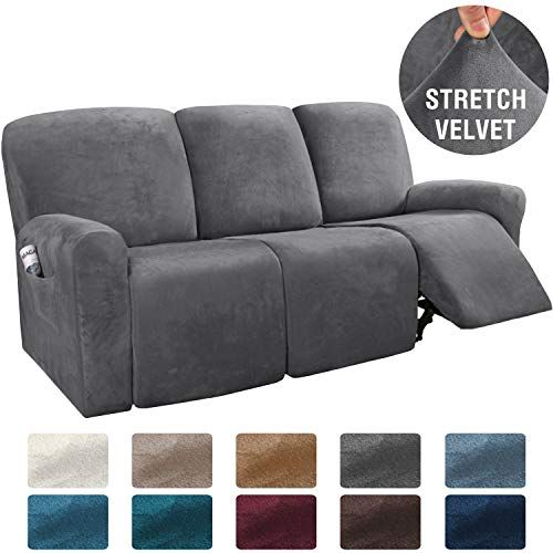 H Versailtex 8 Pieces Recliner Sofa Covers Velvet Stretch Reclining Couch Covers For 3 Cushion Sofa Slipcovers Furnit In 2020 Cushions On Sofa Couch Covers Sofa Covers