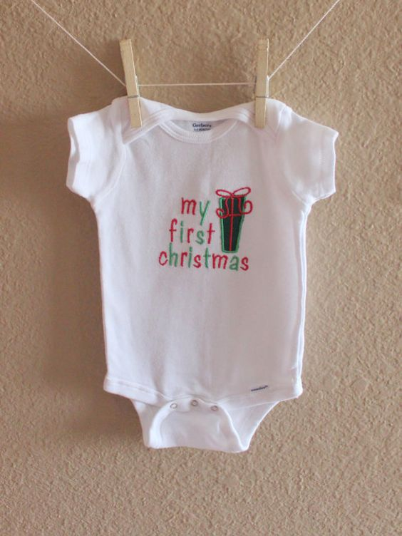 My First Christmas embroidered onesie You can view other items in my shop here:  http://bobbinsandpurls.etsy.com
