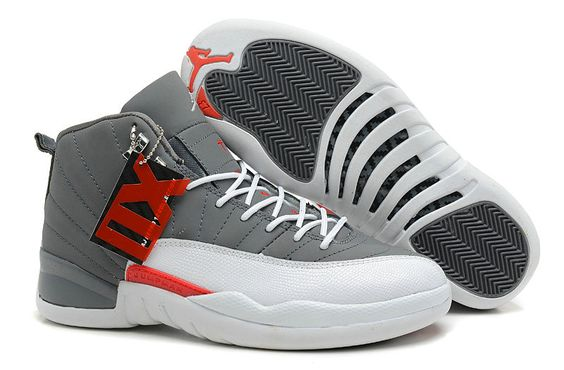 Air Jordan 12 Retro Wolf Grey White Red New Jordans Shoes 2013 [Wholesale Air Jordans .