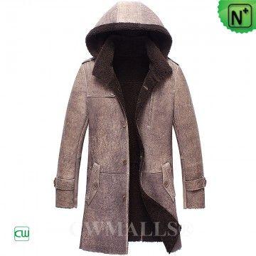 CWMALLS® New York Hood Sheepskin Trench Coat CW836056 - Custom