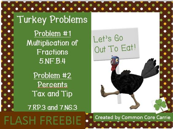 Flash Freebie through Tuesday, October 28. This product includes two Thanksgiving themed problems.  The first problem asks students to triple a pumpkin pie recipe.  Students practice multiplication of a whole number by a fraction.  The second problem asks students to find the tax and tip of a meal.  Students are also asked to determine the cost per person (turkey) for dinner.