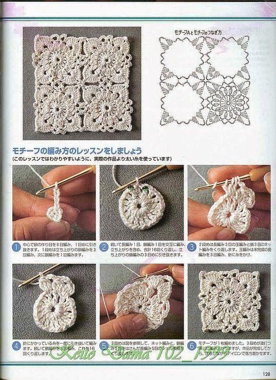 Crochet y dos agujas: Un Granny o aplique al crochet con su paso a paso en fotos y diagrama