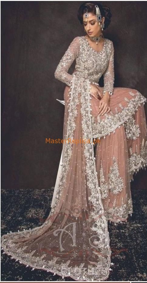 Sobia Nazir Luxury Embroidered Bridal Net Collection Replica In