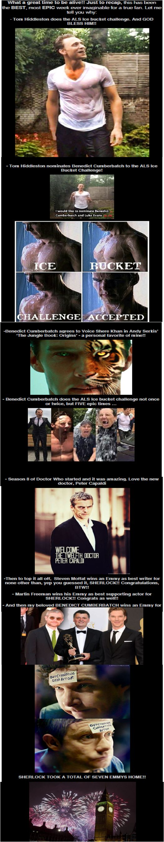 Reasons why the last ten days have the BEST for all Hiddlestoners, Cumbercollectives, Sherlockians, and Whovians!! <3