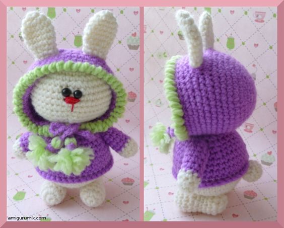 Amigurumi Bunny in Hood Sweater - FREE Crochet Pattern and Tutorial ~ Use translator for pattern