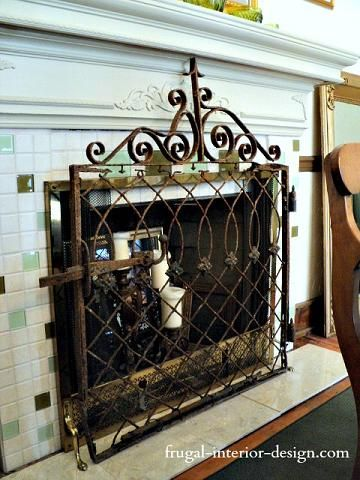 Old Wrought Iron Gate Repurposed As Decorative Fireplace