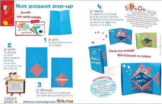 Carte poisson pop up school ecole mon cole ton - Carte pop up a fabriquer ...