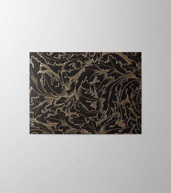 Hieronymus Greeting Card Acanthus Gold, gold hot foil stamping