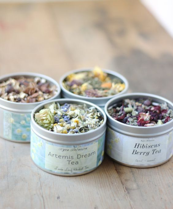 Herbal Tea Gift Set Four Tea Tins of Your Choice by KyraBotanica: