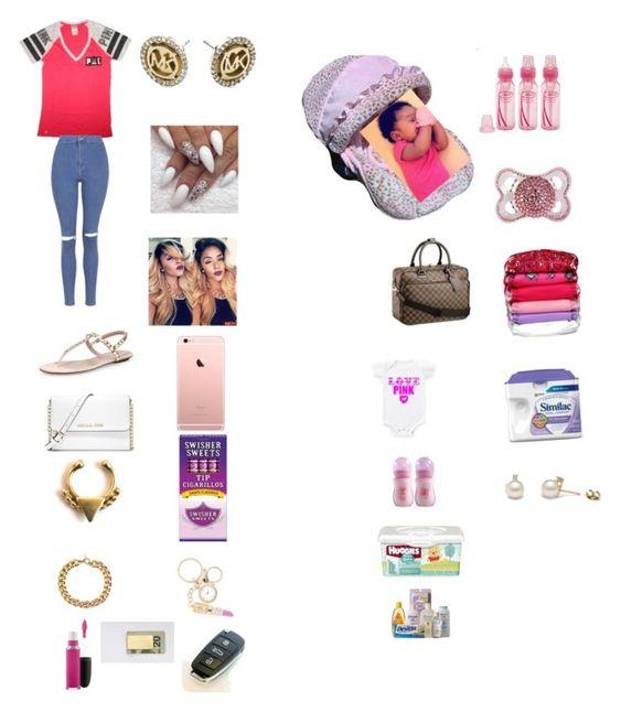 """Love pinkk "" by manija-jones ❤ liked on Polyvore featuring MICHAEL Michael Kors, MAC Cosmetics, Michael Kors, Forever 21, Gucci, Victoria's Secret, Topshop, Nollie, Converse and Johnson's Baby"