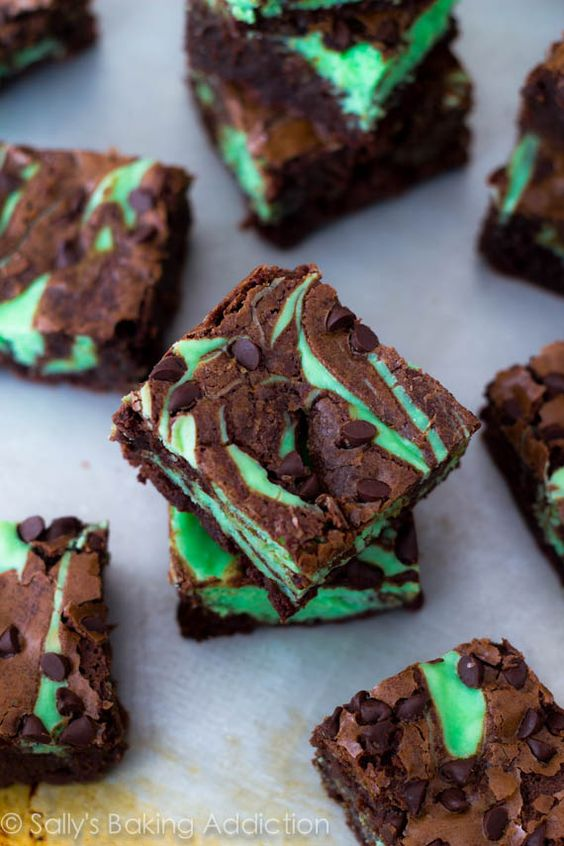 Mint Chocolate Chip Cheesecake Brownies by sallysbakingaddiction.com