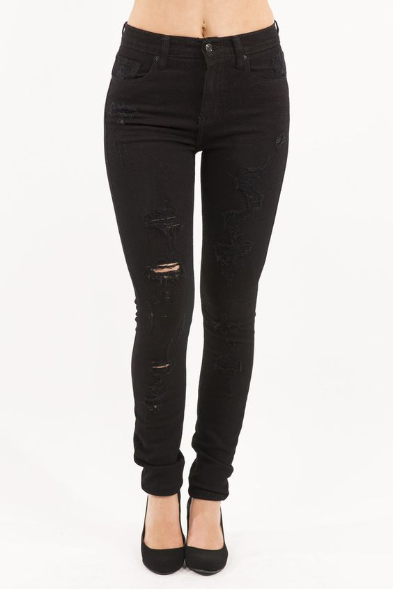 Super High Waist Black Distressed Skinny Jean by Eunina Jeans. Yes ...