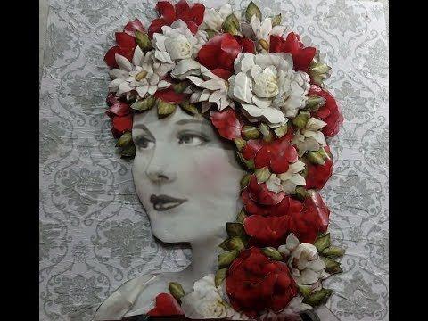 ورد ابيض و احمر ديكوباج مجسم Painting Collage Art