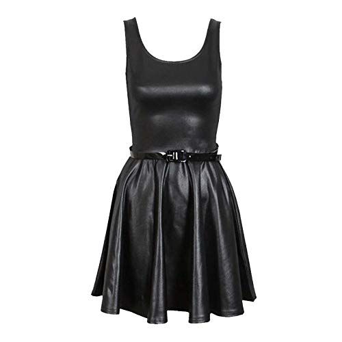 NEW Womens Ladies Wet Look leather look shiny Midi Skirt In Black 8-26