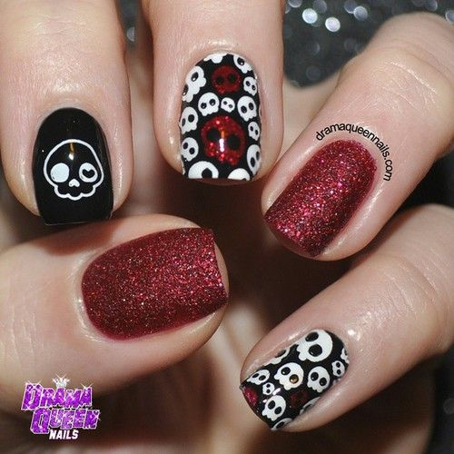 """dramaqueennails: """"#31dc2014 Day 24: Inspired by a book. This year I chose """"The book of skulls"""", it's an amazing book filled with beyond amazing skull art. For more deets on the mani and book head to..."""