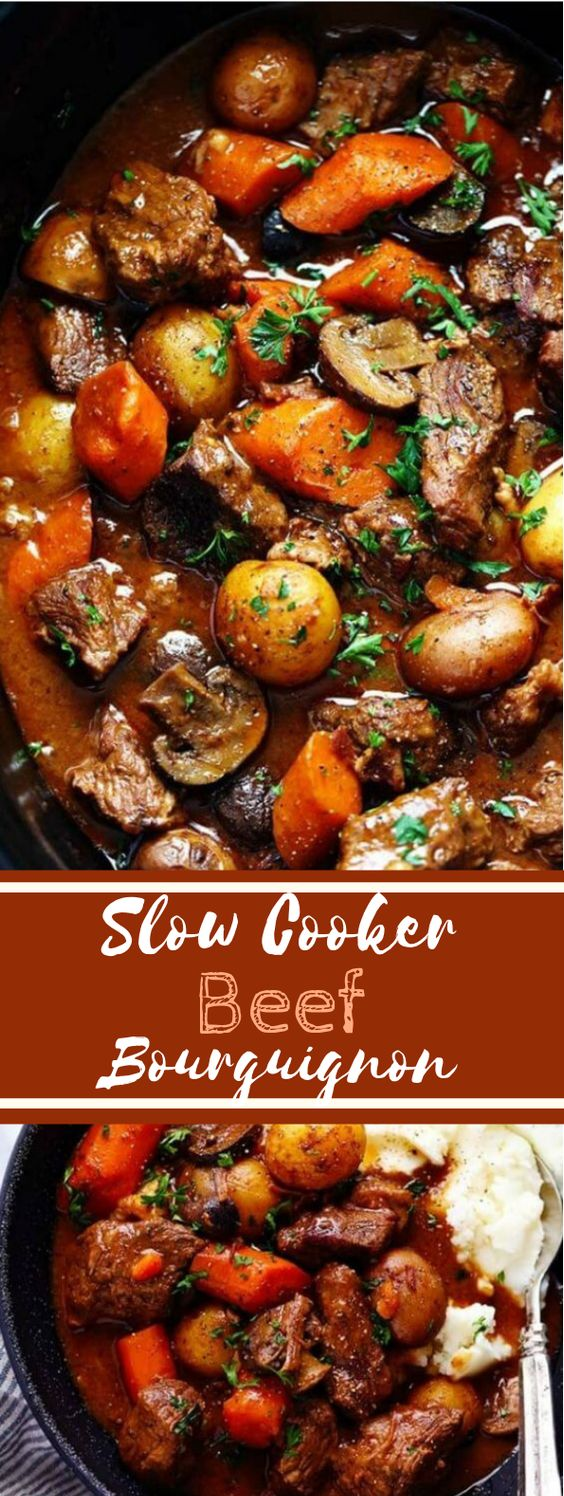 Slow Cooker Beef Bourguignon #beef #dinner