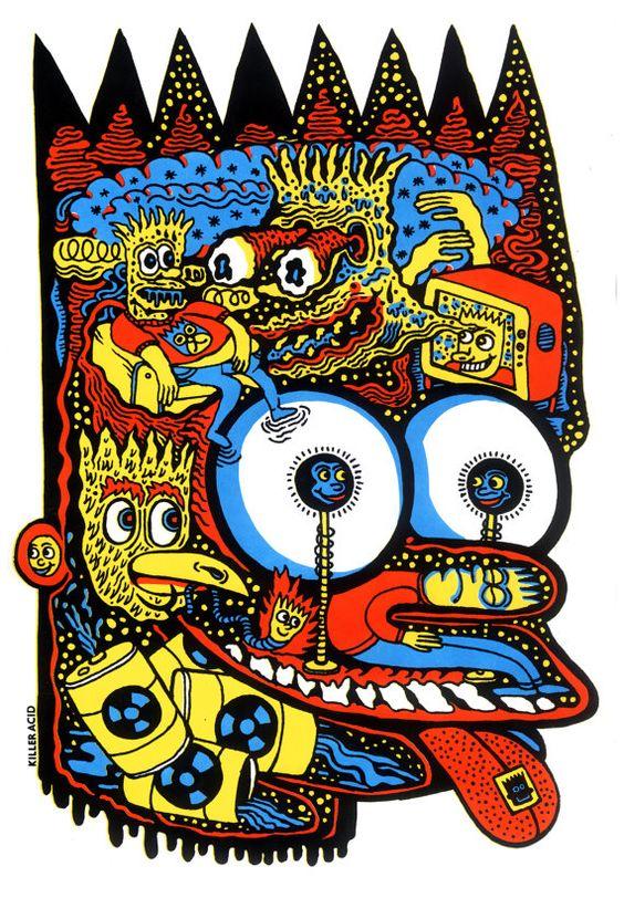 Head of Bart Screen Print by killeracid on Etsy