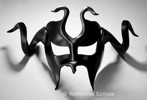 Gladiator Black Leather Mask w/ HUGE Horns by Nokturnel Eclipse www.SinfulNightwear.com