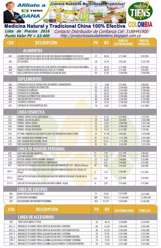 Lista de Precios Tiens 2016